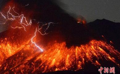 日本樱岛火山喷发