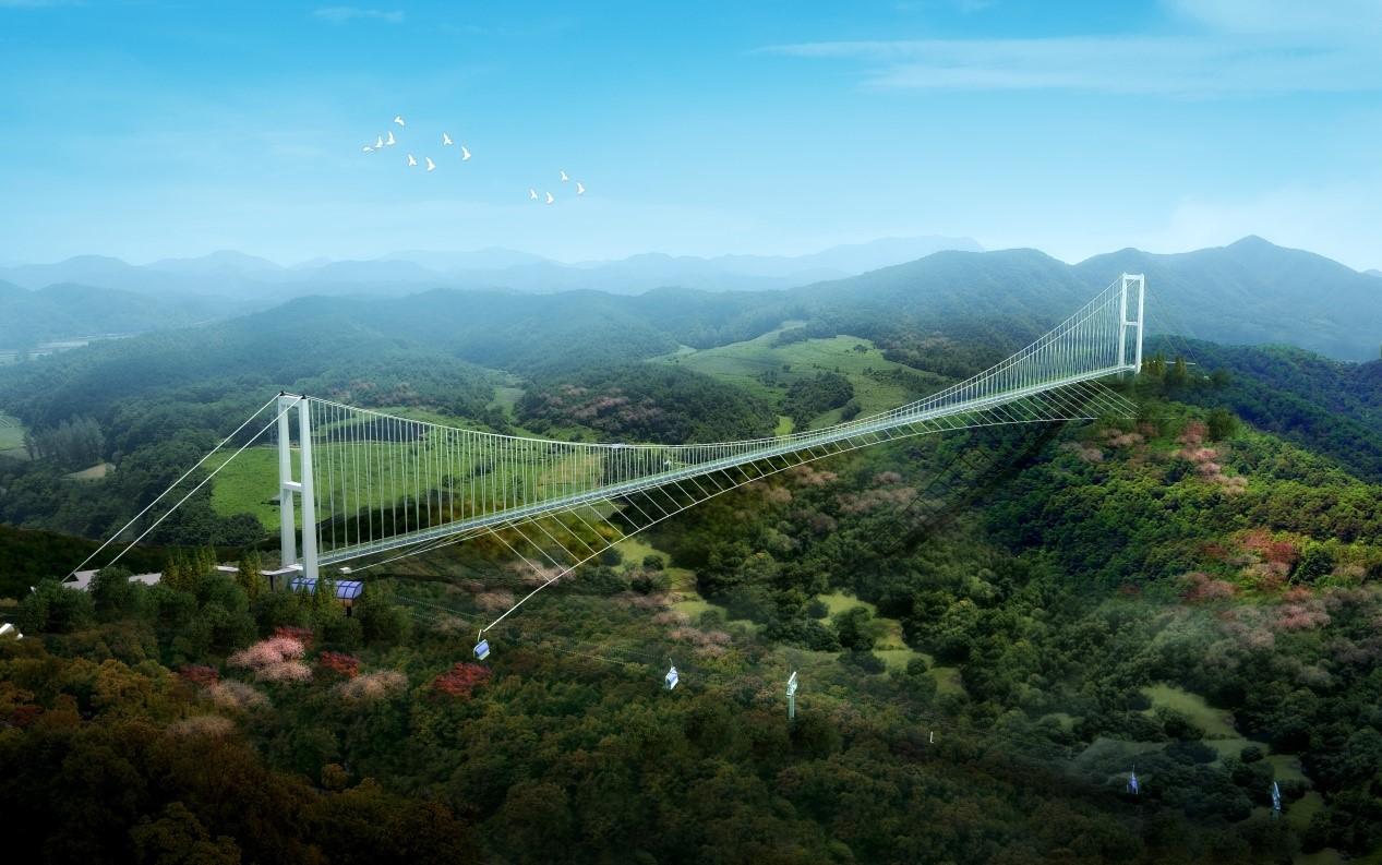 中国最长斜拉式玻璃悬索桥将落户莲花山