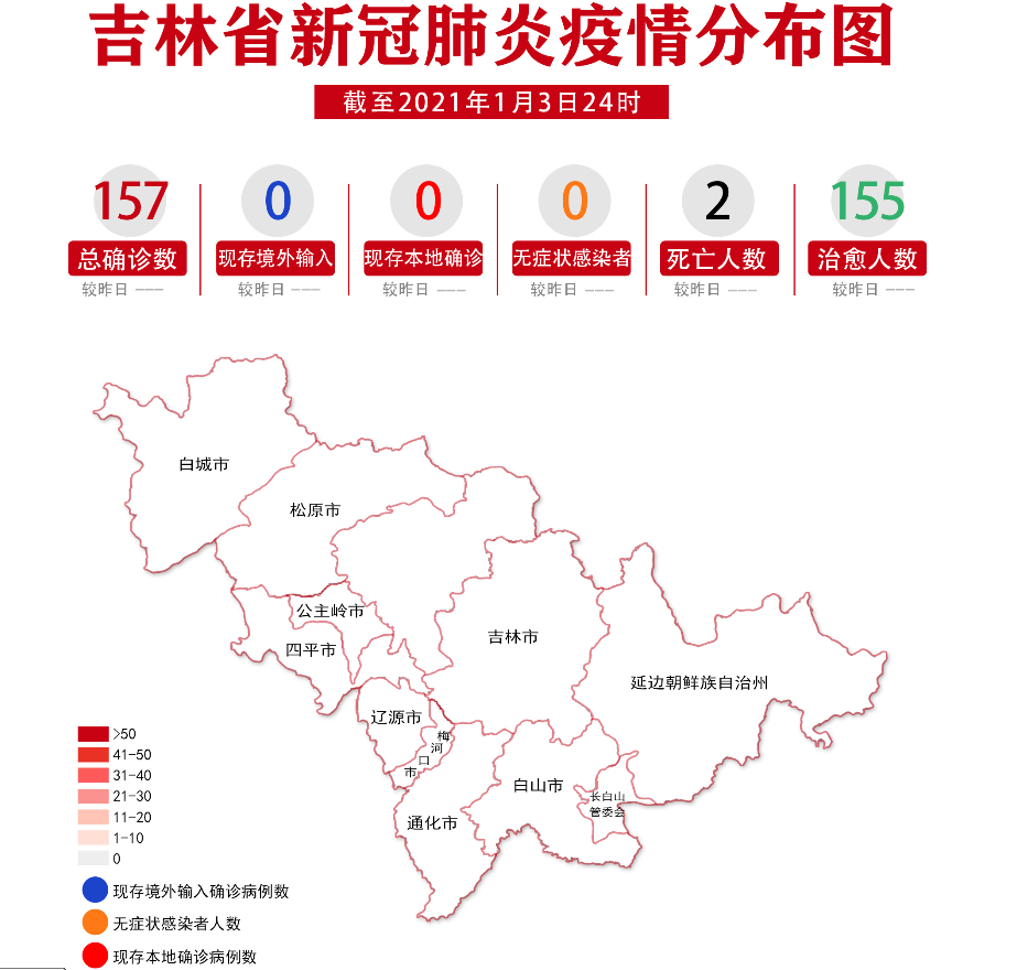 吉林省新冠肺炎疫情分布圖(2021年1月4日公布)